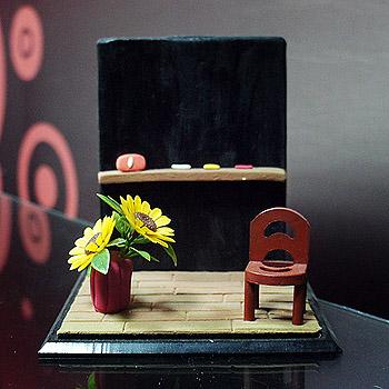 單人教室公仔場景(含防塵框)